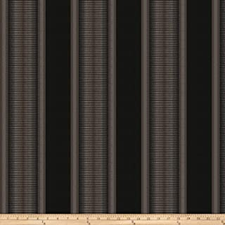 Kendall Wilkinson Sunbrella Indoor/Outdoor Jacquard Sunset Stripe Black Rock Fabric by The Yard