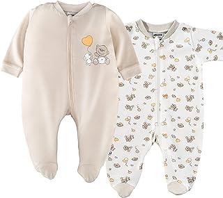 Jacky 2er Set - Jacky Baby Schlafstrampler/Schlafanzug mit Füßen/Unisex / 100% Baumwolle/Weiß/Beige/Öko-Tex schadstoffgeprüft 50/56