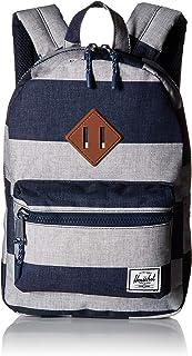 Herschel Heritage Kids Backpack, Border Stripe/Tan Synthetic Leather