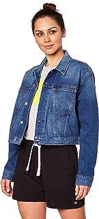 سترة حريمي من Calvin Klein Jeans مطبوع عليها صورة Omega مقصوص باللون الأزرق (حجر غامق أيقوني 911)، مقاس كبير