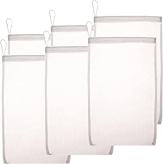 """Fine Mesh Media Filter Bags - 8"""" by 12"""" - 6 Pack with Drawstrings for Bulk Activated Carbon - Reusable Fish Tank Charcoal ..."""