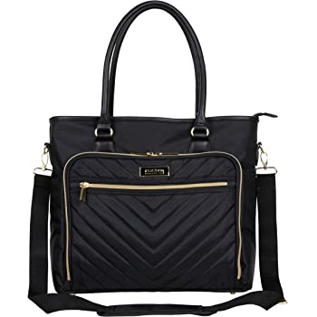 """Kenneth Cole Reaction Chelsea Quilted Chevron 15"""" Laptop & Tablet Business Tote With Removeable Shoulder Strap, Black"""