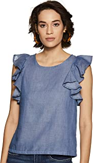 Flying Machine Women's Top (FWTO1057_Indigo_L SL)