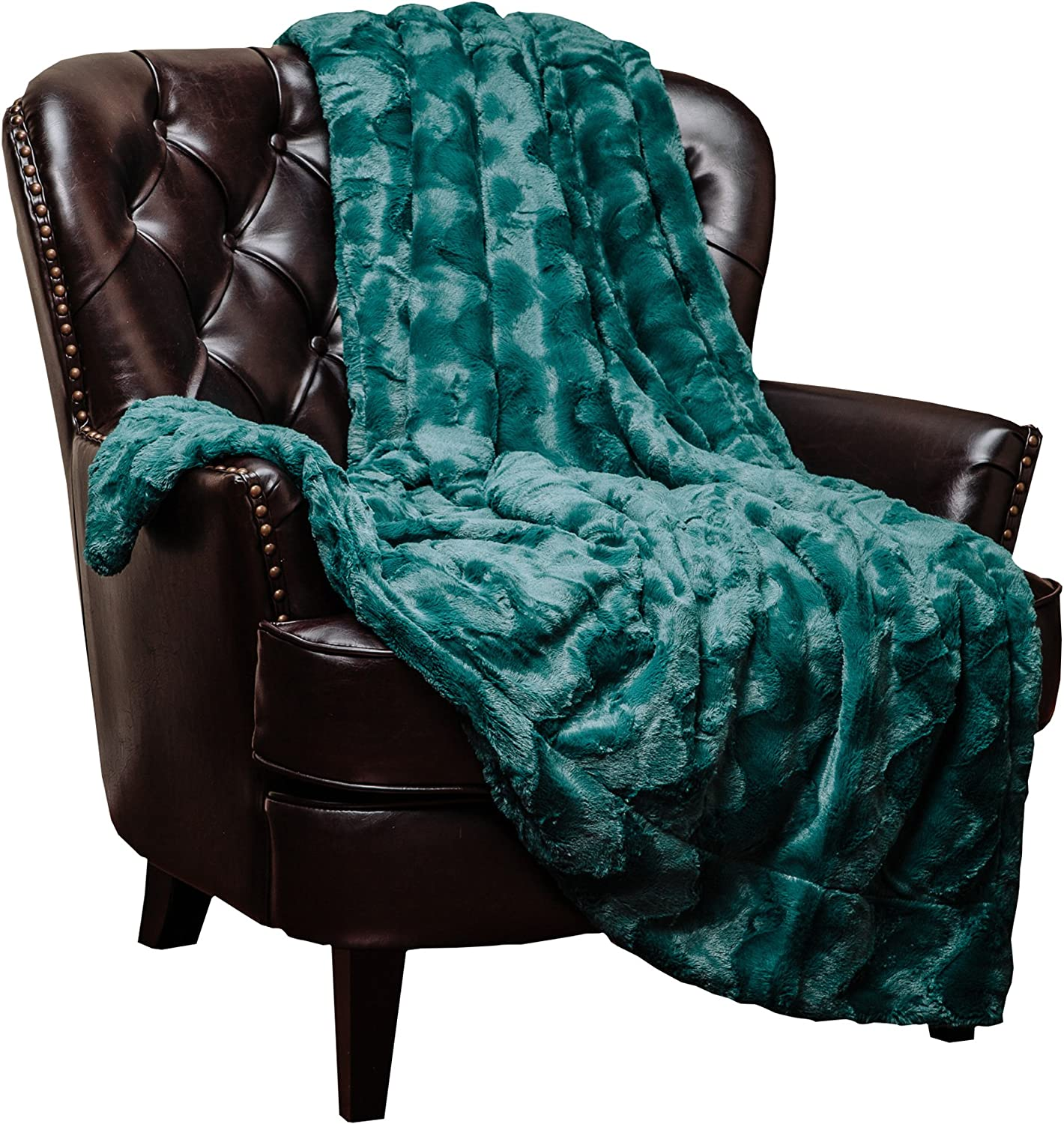 outlet Chanasya Fuzzy Faux Fur Soft Wave Cozy trend rank - Throw Embossed Blanket