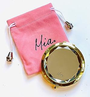مرآة صغيرة مرصعة بالمجوهرات من ميا بيوتي | مرآة لوضع المكياج | مزدوجة الوجه 2×1 | للنساء، وصيفات العروس، هدية | معدن مطلي ...