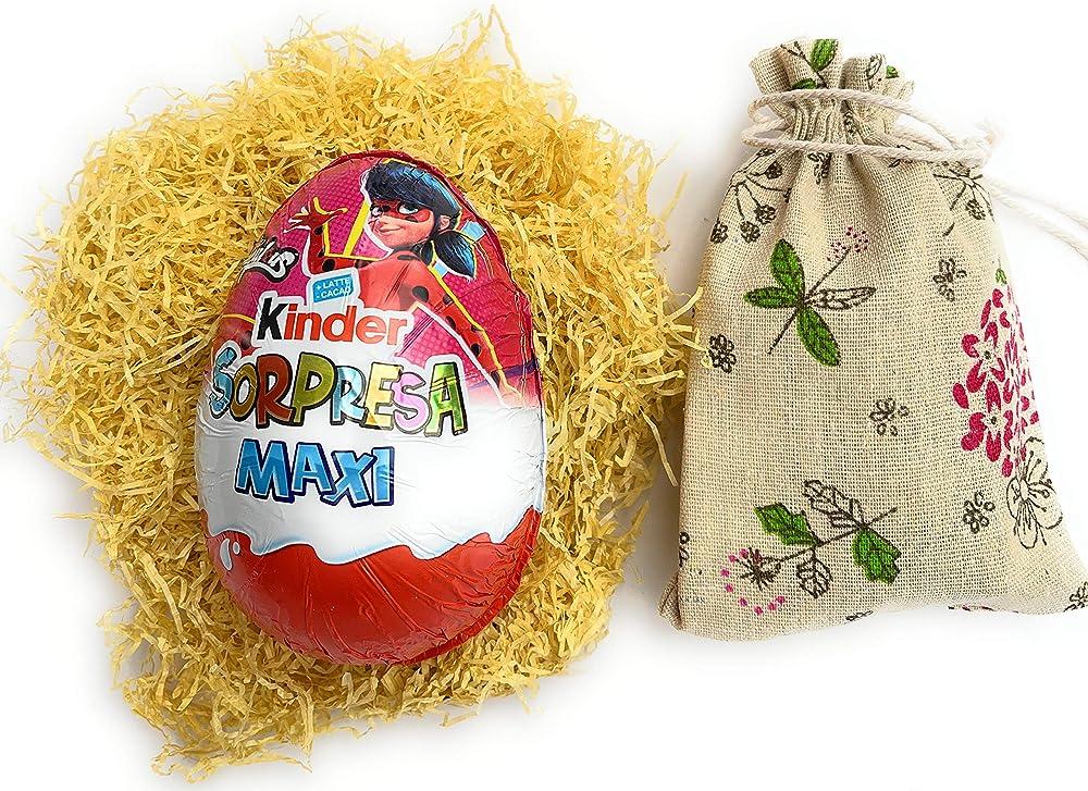 Uovo di pasqua kinder miraculous 100 gr con sorpresa,piu`  mini ovetti witor`s ripieni di crema al latte