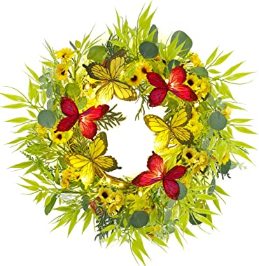 Twinkle Star 18 Inch Pre-lit Eucalyptus Wreath with Daisy Flowers & Butterfly, Lighted Artificial Leaves Front Door Wreat