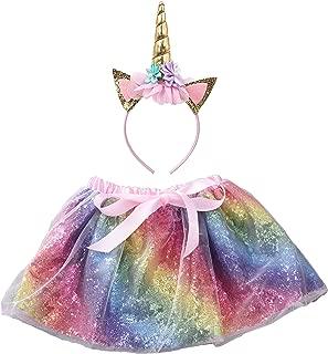 Girls Sequin Layered Tulle Rainbow Ballet Tutu Skirt with Unicorn Headband