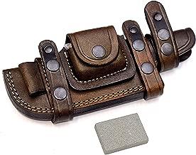 CFK Cutlery Company Custom Handmade Brown Bushcraft Tracker/Skinner Knife Buffalo Leather Right/Left Hand Horizontal Scout Sheath & Sharpening Stone Set CFK138