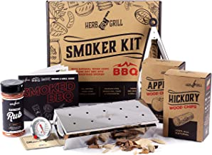Herb & Grill 7 Piece BBQ Cooking Gift Set for Dad | Smoking Wood Chip Smoker Box with BBQ Honey Rub | Fun & Easy