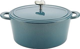 Ayesha Curry Cast Iron Enamel Casserole Dish/ Casserole Pan / Dutch Oven with Lid - 6 Quart, Twilight Teal