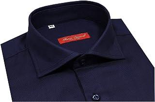 Camicia uomo oxford blu collo semi francese