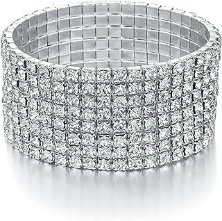 Yumei Jewelry 8 Strand Rhinestone Stretch Bracelet Silver-Tone Sparking Tennis Bracelet