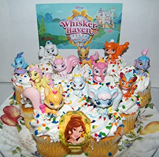 Disney Whisker Haven Tales With the Palace Pets Deluxe Mini Cake Toppers Cupcake Decorations Set of 14 with Figures, a Sticker Sheet and Toy Ring With Dreamy, Petite, Sultan and More!
