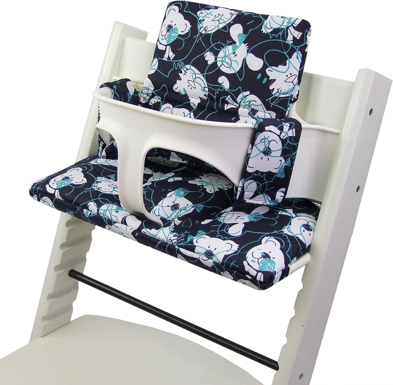 Bambiniwelt - Juego de funda de repuesto para trona o silla infantil Stokke Tripp Trapp, reductor de asiento (disponible en alemán) Dkl.azul turquesa ositos