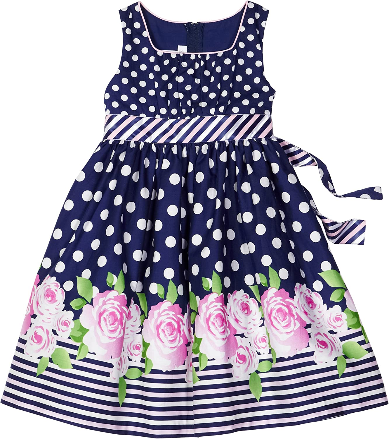 Bonnie Jean Little Girls' Ground Print Dress with Roses Border