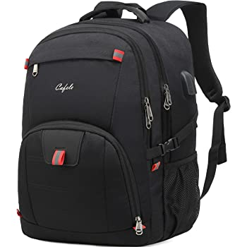 Cafele 17.3 inch Laptop Backpack,Extra Large Backpack Bookbag Computer Rucksack with USB Charging Port,Water Resistant Sturdy Backpack for Business College School Travel,Men Women Casual Daypack,Black