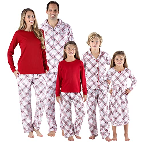 390a74a2d7 SleepytimePjs Christmas Family Matching Grey and Red Plaid Flannel PJs Sets  for The Family
