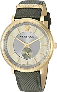 Versace Men's The The Manifesto Edition Stainless Steel Quartz Watch with Leather Calfskin Strap, Green, 20 (Model: VBQ030017)