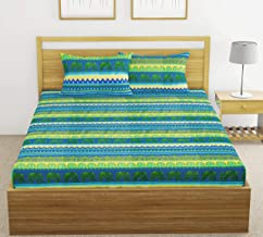 Fab Theory Rajasthan Palace 104 TC Cotton Double Bedsheet with 2 Pillow Covers, Green