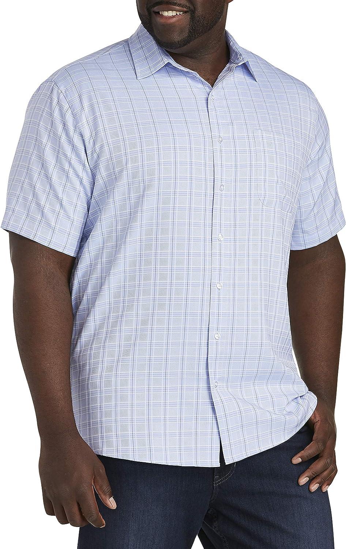 DXL Synrgy Big and Tall Medium Plaid Microfiber Sport Shirt, Blue