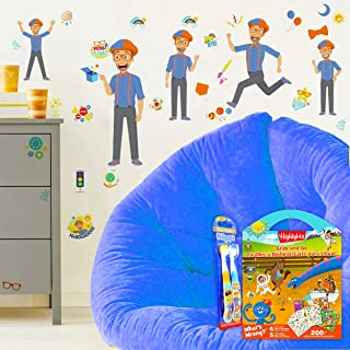 RoomMates Blippi Wall Decals Bundle ~ 31 Pc Blippi Room Decor Set with Blippi Toothbrush 2-Pack and 200+ Highlights Sticke...