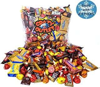 Thanksgiving Chocolate Candy Assortment - Ghirardelli, Nestle Crunch, Kit Kat, Hershey's, Butterfinger, Kisses, Rolo, Autumn Color Chocolate Candy Mix, Bulk Pack, 3 Lbs