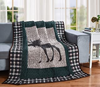 Moose Plaid Quilt Throw Blanket, Rustic Lodge Cabin Mountain Style Bedding