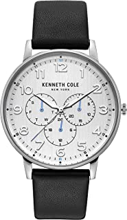 Kenneth Cole Men's Quartz Watch, Analog Display and Leather Strap KC50801004