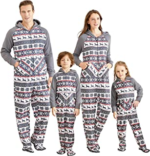 Matching Family Footed Pajamas Hoodie Sleeper Christmas PJ's Festival Snowflake Plush Cozy Warm Onesie Grey