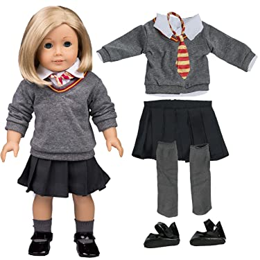 "Hermione Granger Inspired Doll Outfit (6 Piece Set) - Premium Handmade Clothes Fits American Girl Doll & 18"" Dolls - Hogwarts School Uniform"