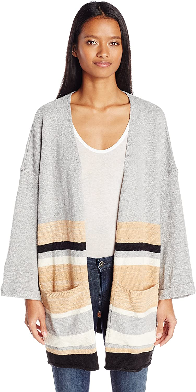 Angie Womens Striped Cardigan Sweater Cardigan Sweater
