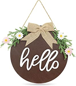 Hello Welcome Sign for Front Door Porch Signs Hello Summer Sign Wood Round Hanging Farmhouse Wreath Housewarming Gift Rustic Home Decor Door Wreaths Front Door Decorations