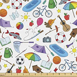 Lunarable Happy Camper Fabric by The Yard, Summer Season Vacation Themed Colorful Elements Ball Bicycle Raft and Oars, Dec...