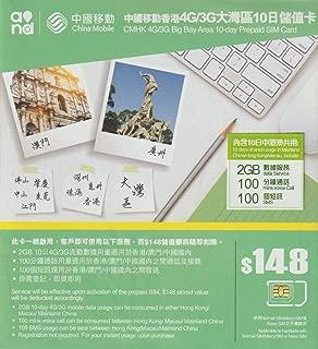 [中国移動香港] 中国全土 香港 澳門 (マカオ) 3GB 4G/3G 10+1日間 データ通信SIMカード 100分通話+100通SMS付き[香港電話番号]