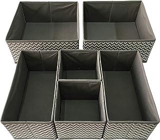 Sodynee SCD6SST جعبه ذخیره سازی جعبه ذخیره سازی جعبه مخزن ساز مخزن مخزن سبد مکعب مخزن با قلم ها برای لباس زیر، برس، جوراب، روابط، روسری، 6 بسته، نوار