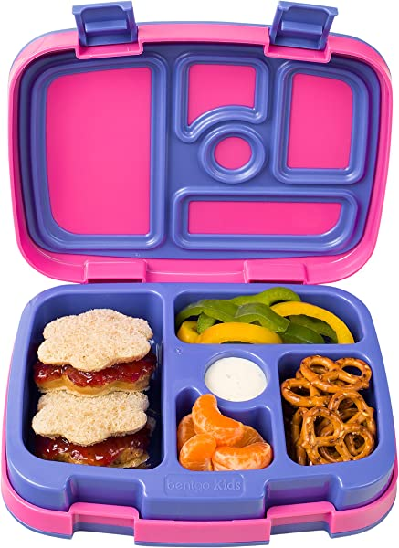 Bentgo Kids Brights Leak Proof 5 Compartment Bento Style Kids Lunch Box Ideal Portion Sizes For Ages 3 To 7 BPA Free And Food Safe Materials Fuchsia