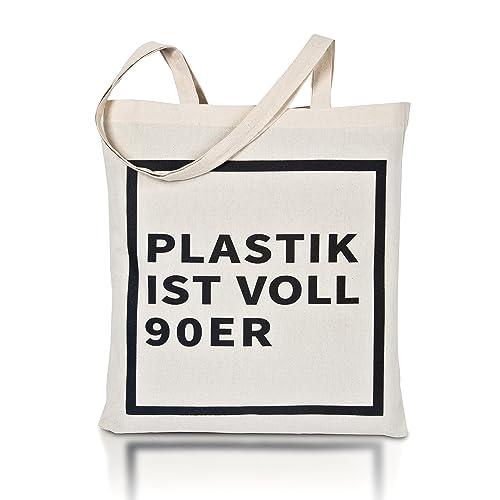 5bf3f4a1259e7 avoid waste - Jutebeutel Bedruckt - Nachhaltige Einkaufstasche mit Aufdruck  und Langen Griffen (Plastik ist