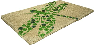 "Entryways Dragonfly , Hand-Stenciled, All-Natural Coconut Fiber Coir Doormat 18"" X 30"" x .75"""