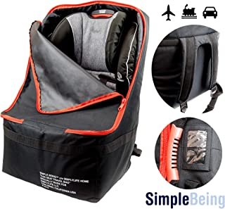 Simple Being Baby Car Seat Travel Bag, Gate Check Backpack Infant Carriers Booster Cover Protector for Air Travel (Black)