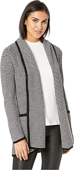 All Over It Striped Drape Front Cardigan