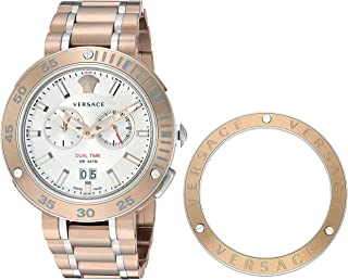 Versace Men's V-Extreme Pro Quartz Watch with Gold-Plated-Stainless-Steel Strap, Two Tone, 24 (Model: VCN050017