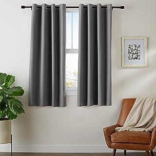 comprar comparacion AmazonBasics - Juego de cortinas que no dejan pasar la luz, con ojales, 117 x 137 cm, Gris oscuro
