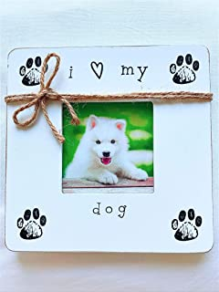 InstaPetTags Cute Rustic Wooden Dog Photo Frame for Your Pet, I Love My Dog