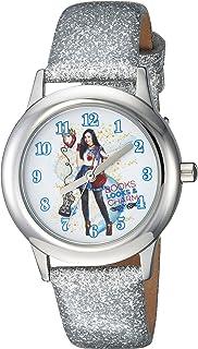 ساعة DISNEY Girls Descendants 2 من الستانليس ستيل انالوج كوارتز بحزام جلد صناعي، فضي، 15 (WDS000249)