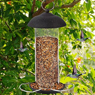 winemana Wild Bird Feeder, Hanging for Garden Yard Outside Decoration, Three Wire Stands with Roof Avoid Weather and Water