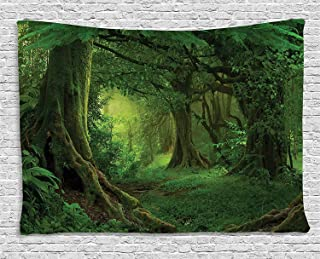 Forest Decor Tapestry by Ambesonne, Enchanted Woodland Foliage in Deep Tropical Jungle at Southeast Asian Landscape, Wall Hanging for Bedroom Living Room Dorm, 80WX60L Inches, Green