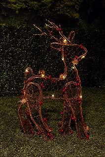 Alpine Corporation CIM198HH Christmas Rattan Light-up Reindeer Décor, 22 Inch Tall, Brown