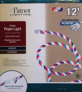 Patriotic Red White and Blue Indoor Outdoor Rope Light - 12 Feet