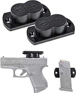 TLO Outdoors Gun Magnet Magnetic Holster Mount - GunMag for Vehicle & Home Concealment for Handgun, Shotgun, Pistol, Car, Boat, Truck Holster - 25+ LBS, Rubber Coated, with Exclusive Safety Cylinder